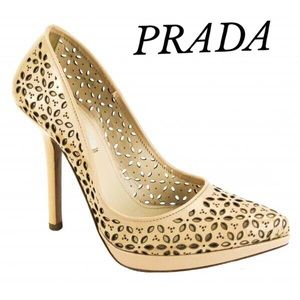 CREAM LEATHER LASER CUT PRADA HEELS PLATFORM SHOES